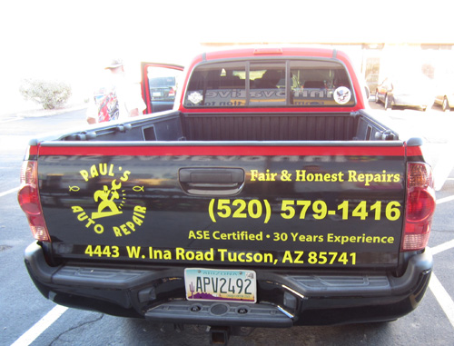 Vehicle Graphics Innovative Signs Of Tucson Innovative Signs - Window decals for business on carcustom sign rear window business lettering ad car truck van