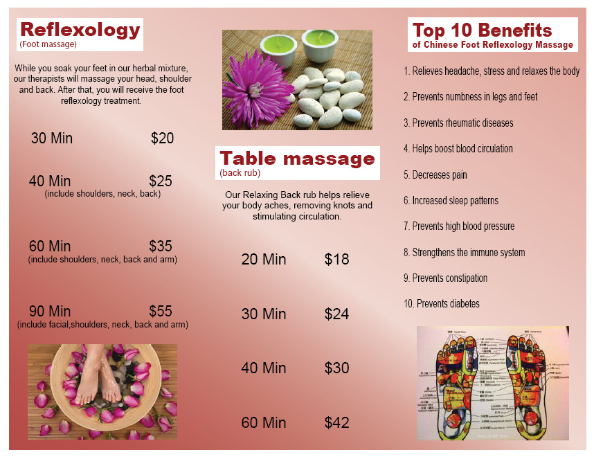 Here Is A Trifold Brochure For FUWA Foot Massage. This Was Designed In  Illustrator With Input From The Customer Regarding The Text, Images And The  Placement ...