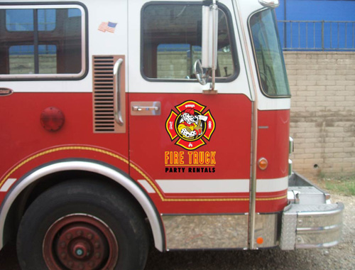 Fire truck fun party rentals vehicle graphics innovative signs of here freerunsca Choice Image