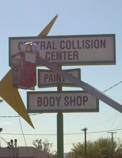 Sign Install Of Central Collision Center Innovative
