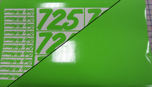 Green cut vinyl decals